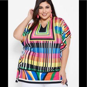 Ashley Stewart NWT Multi Color Geometric Top